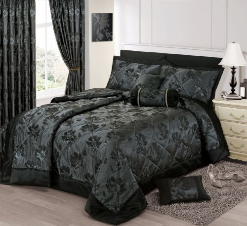 BLACK SILVER COLOUR STYLISH FLORAL JACQUARD LUXURY EMBELLISHED QUILTED BEDSPREAD SET